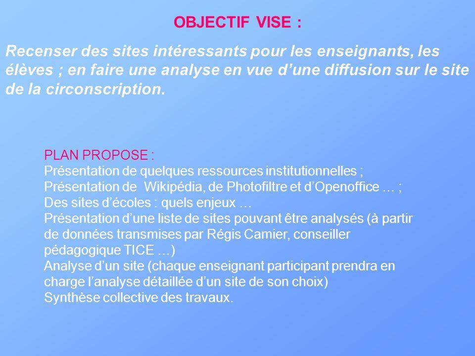 OBJECTIF VISE : Recenser des sites intéressants pour les enseignants, les élèves ; en faire une analyse en vue dune diffusion sur le site de la circon