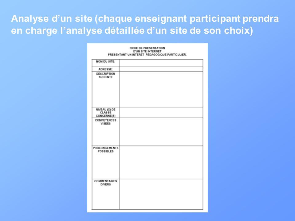 Analyse dun site (chaque enseignant participant prendra en charge lanalyse détaillée dun site de son choix)