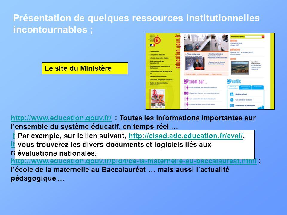 Présentation de quelques ressources institutionnelles incontournables ; http://www.education.gouv.fr/http://www.education.gouv.fr/ : Toutes les inform