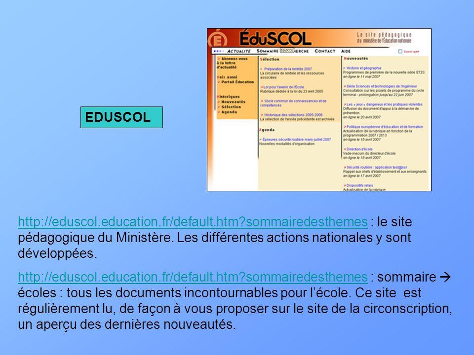 http://eduscol.education.fr/default.htm?sommairedesthemeshttp://eduscol.education.fr/default.htm?sommairedesthemes : le site pédagogique du Ministère.
