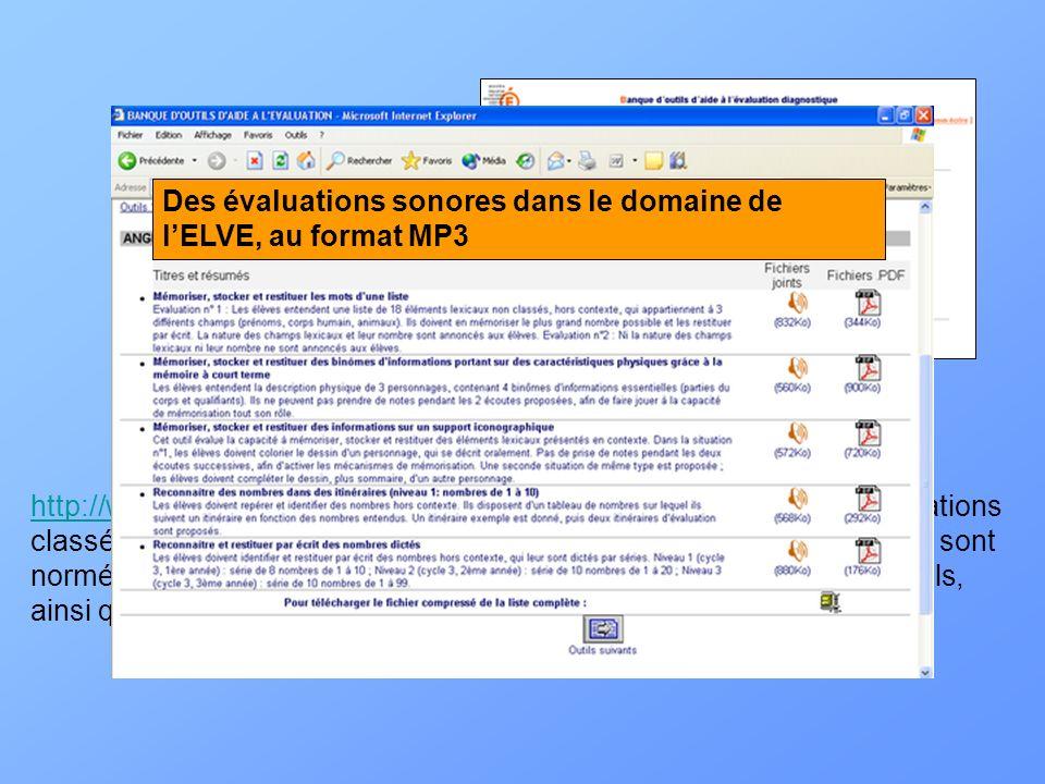 http://www.banqoutils.education.gouv.fr/index.phphttp://www.banqoutils.education.gouv.fr/index.php : des fiches dévaluations classées selon les domain