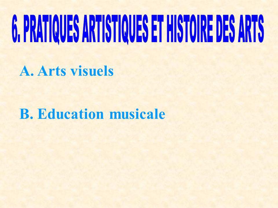 A. Arts visuels B. Education musicale