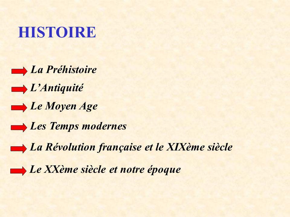 HISTOIRE La Préhistoire LAntiquité Le Moyen Age Les Temps modernes La Révolution française et le XIXème siècle Le XXème siècle et notre époque