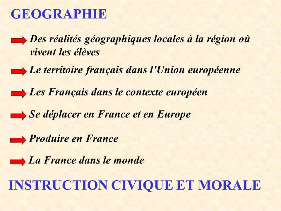 GEOGRAPHIE Des réalités géographiques locales à la région où vivent les élèves Le territoire français dans lUnion européenne Les Français dans le cont