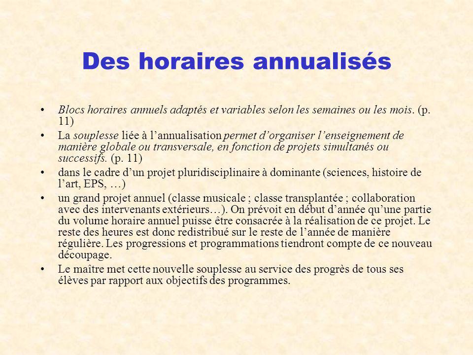 Des horaires annualisés Blocs horaires annuels adaptés et variables selon les semaines ou les mois. (p. 11) La souplesse liée à lannualisation permet