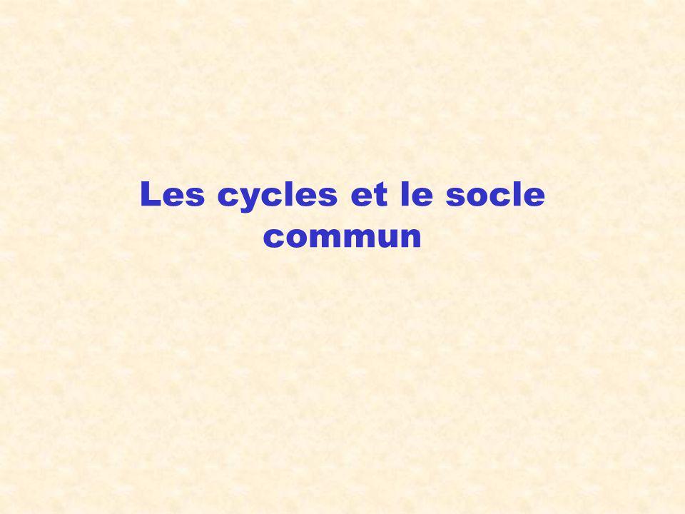 Les cycles et le socle commun