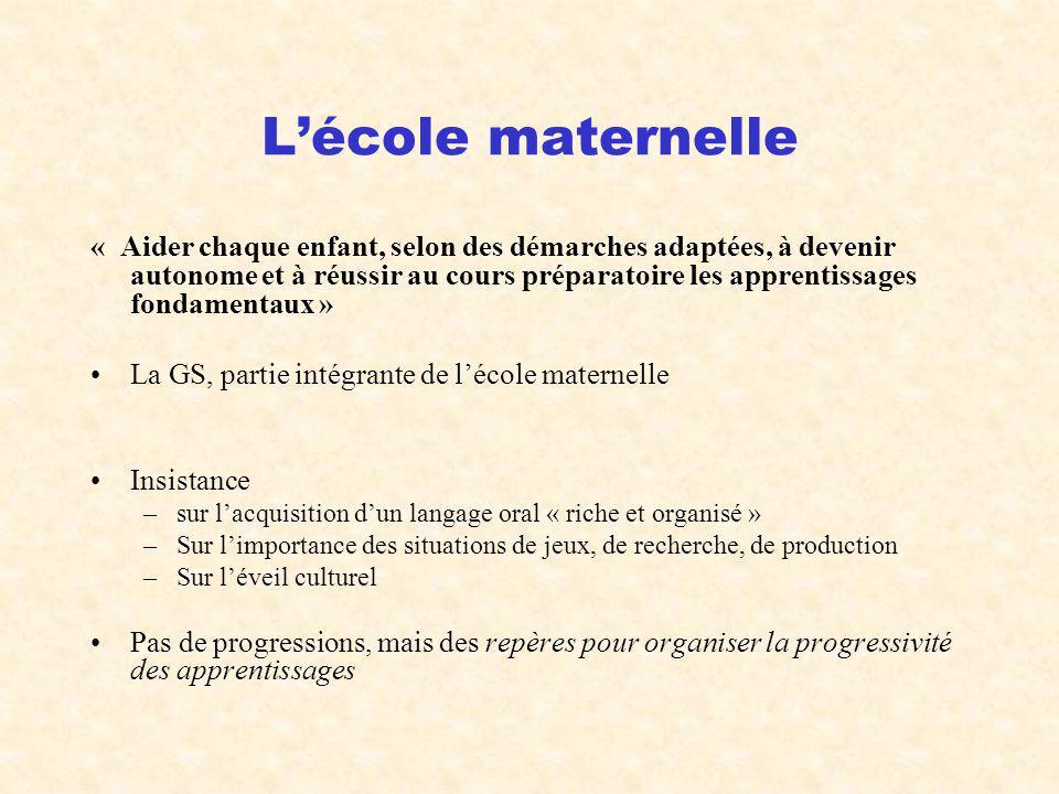 Lécole maternelle « Aider chaque enfant, selon des démarches adaptées, à devenir autonome et à réussir au cours préparatoire les apprentissages fondam
