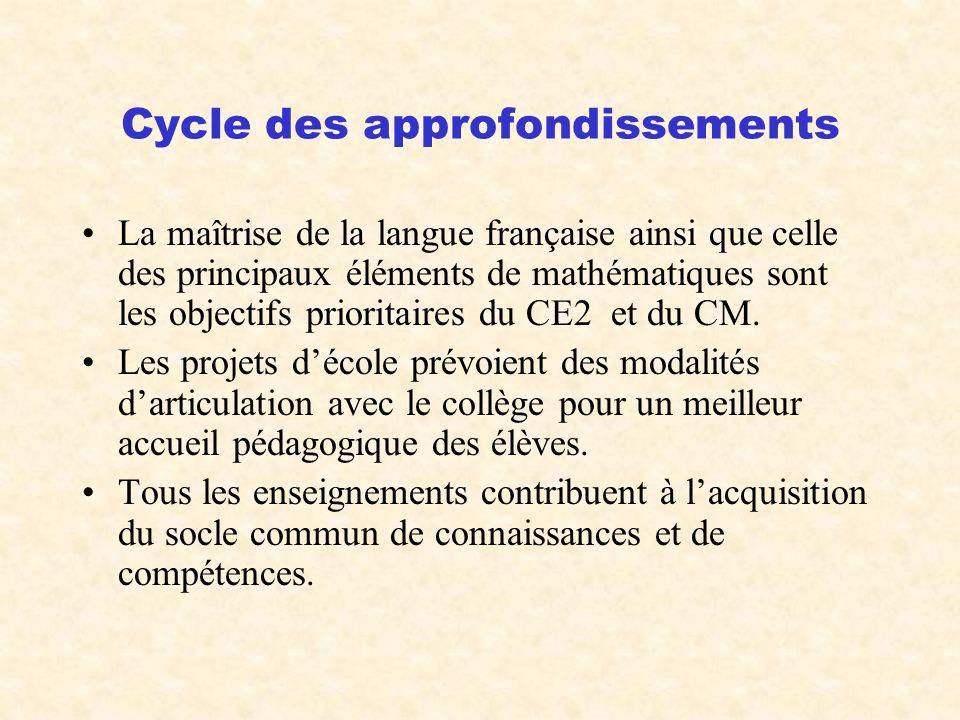 Cycle des approfondissements La maîtrise de la langue française ainsi que celle des principaux éléments de mathématiques sont les objectifs prioritair