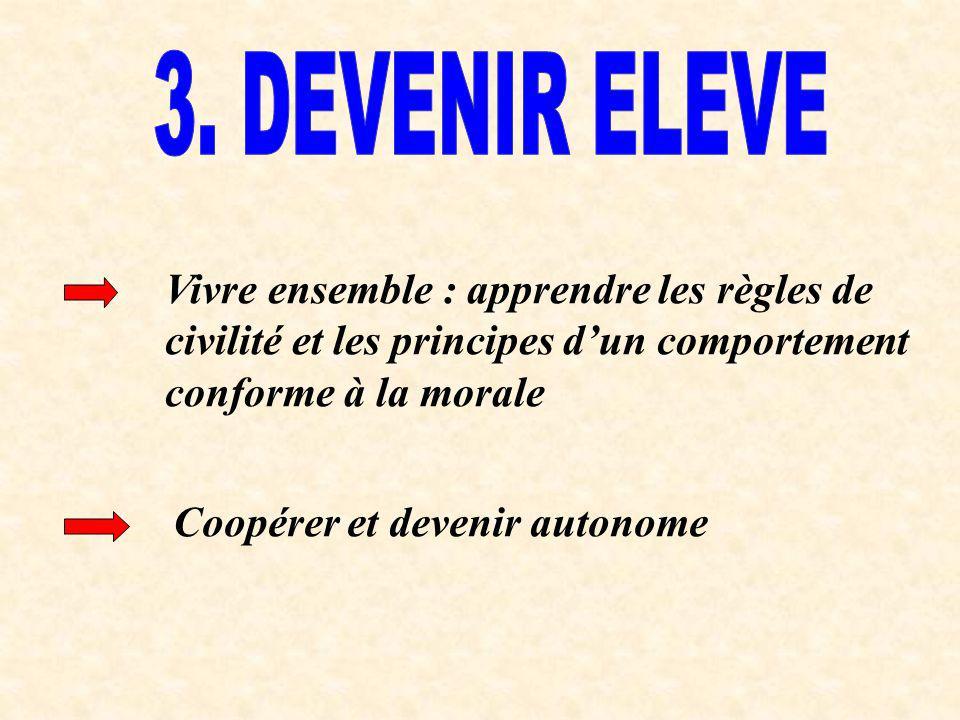 Vivre ensemble : apprendre les règles de civilité et les principes dun comportement conforme à la morale Coopérer et devenir autonome