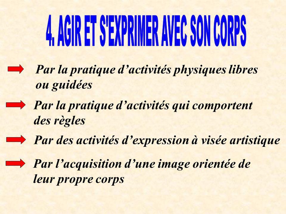 Par la pratique dactivités physiques libres ou guidées Par la pratique dactivités qui comportent des règles Par des activités dexpression à visée arti