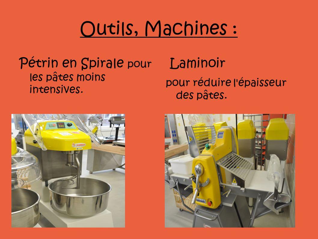 Outils, Machines : Pétrin en Spirale pour les pâtes moins intensives. Laminoir pour réduire l'épaisseur des pâtes.