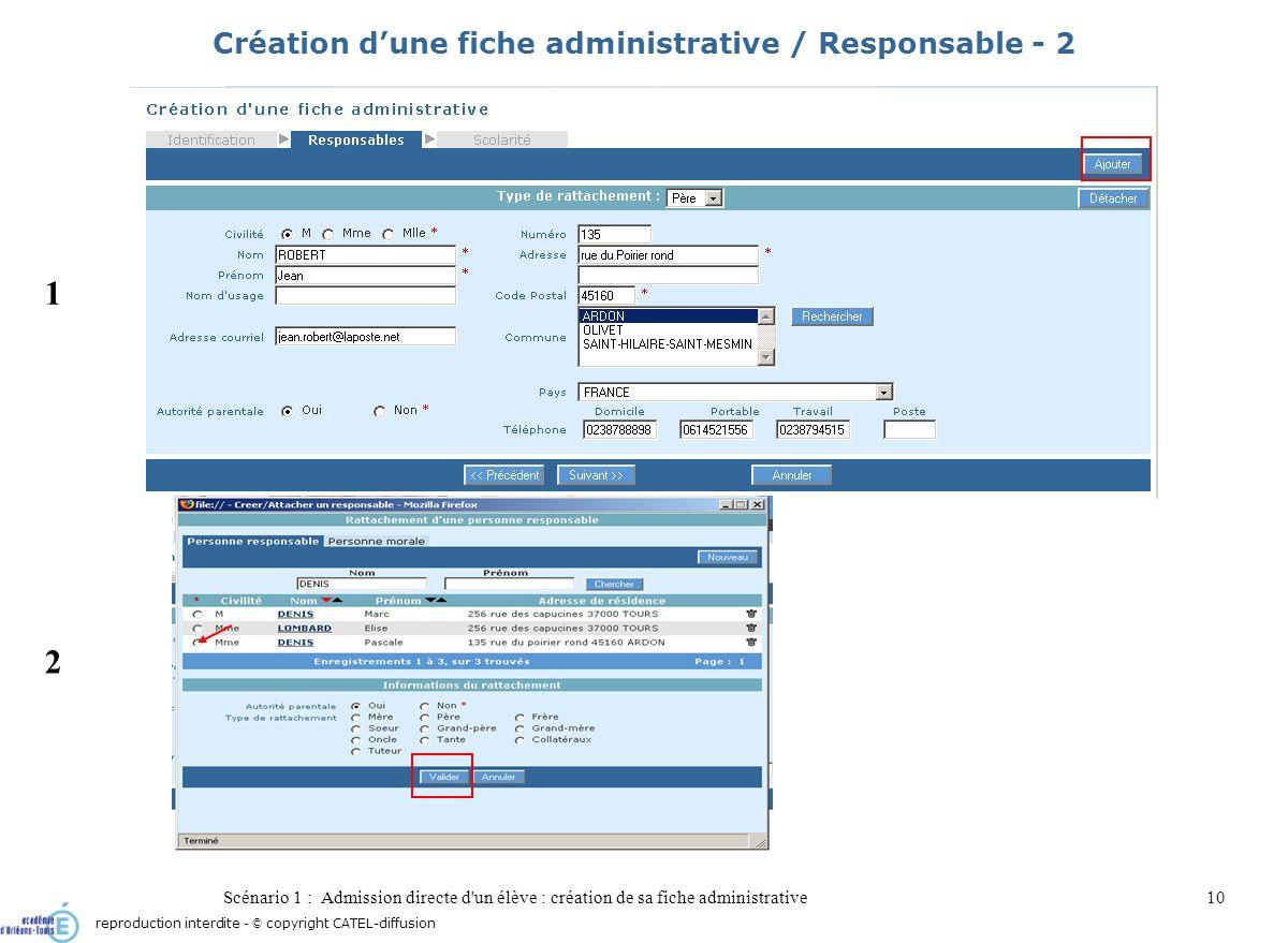 Scénario 1 : Admission directe d'un élève : création de sa fiche administrative10 Création dune fiche administrative / Responsable - 2 1 2 reproductio