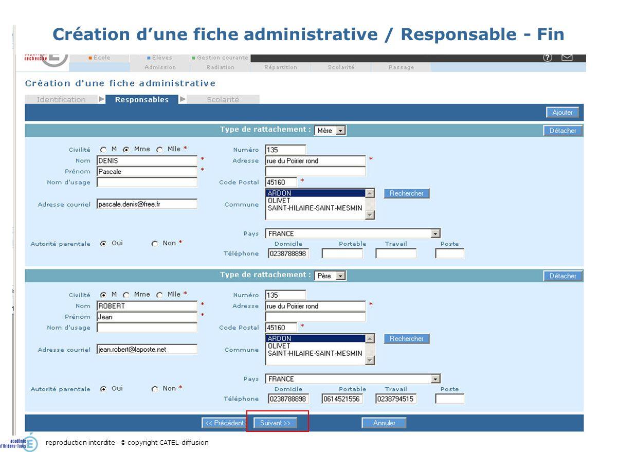Scénario 1 : Admission directe d'un élève : création de sa fiche administrative11 Création dune fiche administrative / Responsable - Fin reproduction