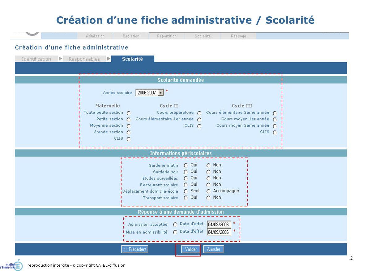 Scénario 1 : Admission directe d'un élève : création de sa fiche administrative12 Création dune fiche administrative / Scolarité reproduction interdit
