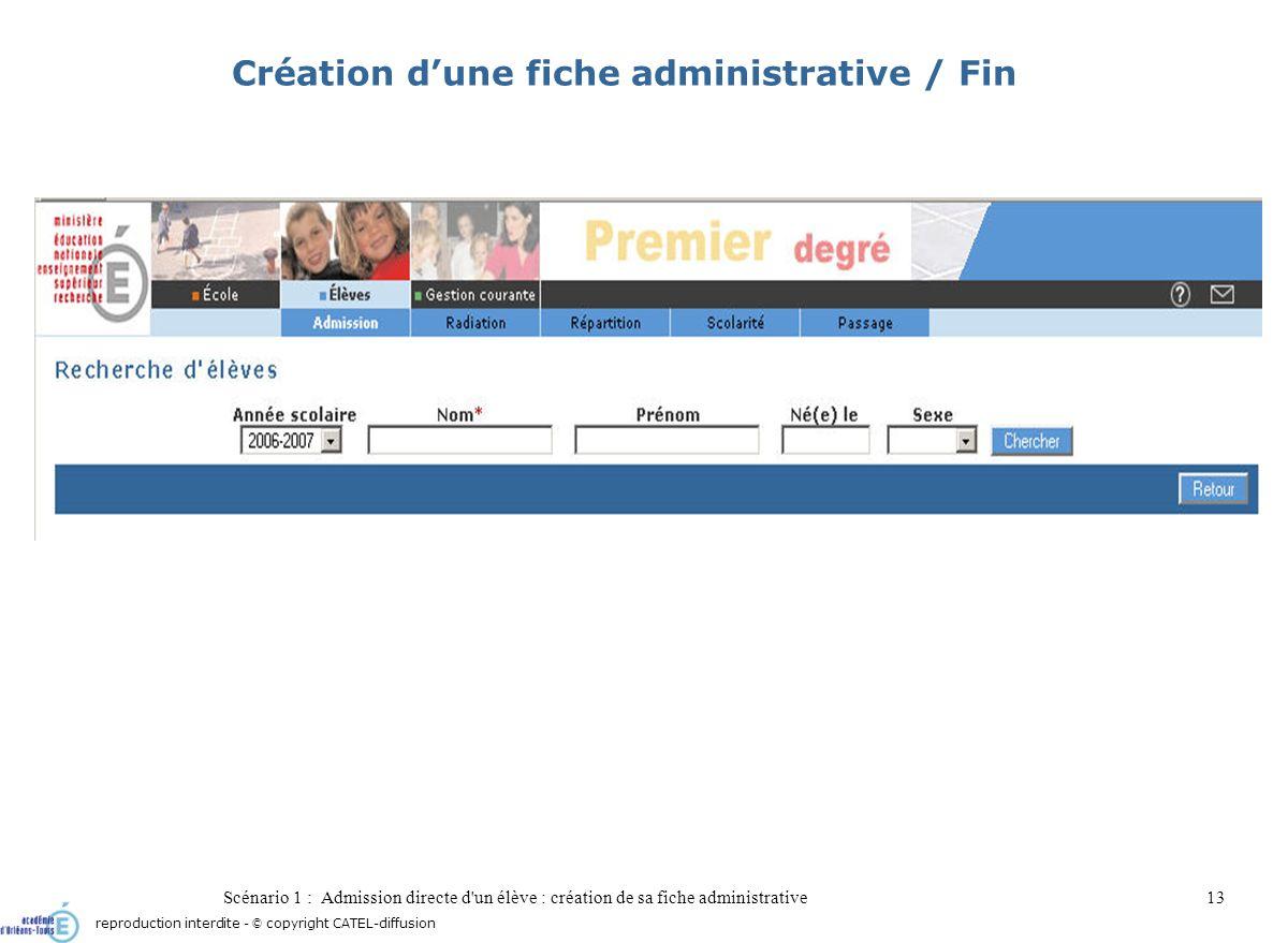 Scénario 1 : Admission directe d'un élève : création de sa fiche administrative13 Création dune fiche administrative / Fin reproduction interdite - ©