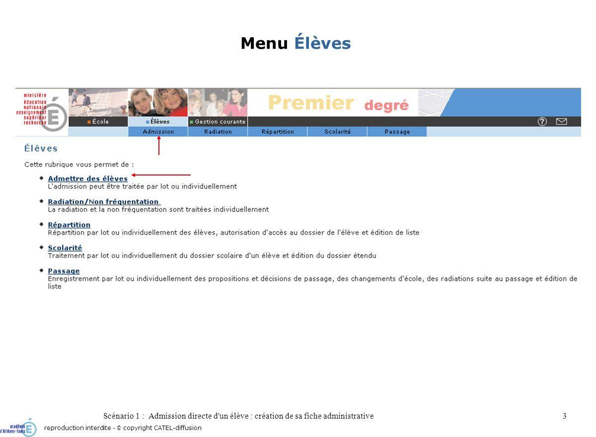 Scénario 1 : Admission directe d'un élève : création de sa fiche administrative3 Menu Élèves reproduction interdite - © copyright CATEL-diffusion
