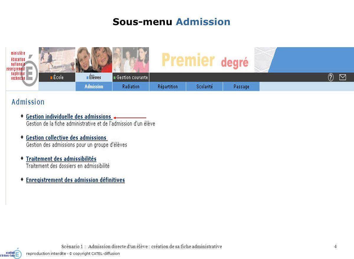 Scénario 1 : Admission directe d'un élève : création de sa fiche administrative4 Sous-menu Admission reproduction interdite - © copyright CATEL-diffus