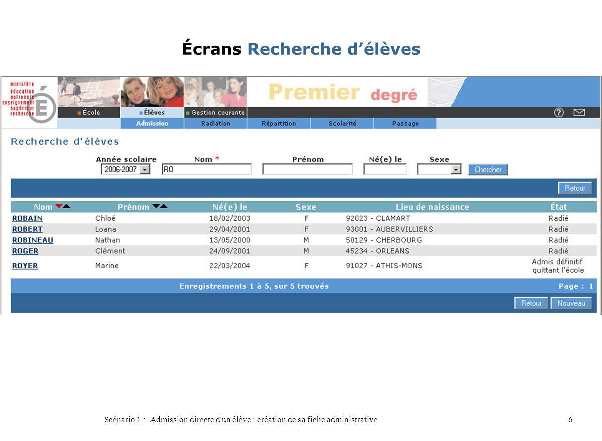Scénario 1 : Admission directe d'un élève : création de sa fiche administrative6 Écrans Recherche délèves
