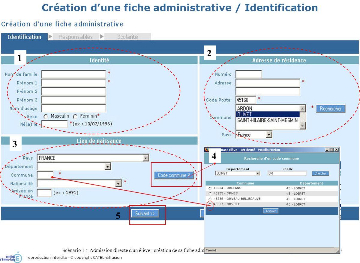 Scénario 1 : Admission directe d'un élève : création de sa fiche administrative7 Création dune fiche administrative / Identification 1 3 4 5 reproduct