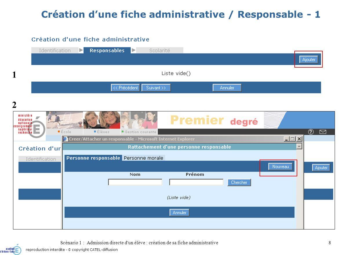 Scénario 1 : Admission directe d'un élève : création de sa fiche administrative8 Création dune fiche administrative / Responsable - 1 1 2 reproduction