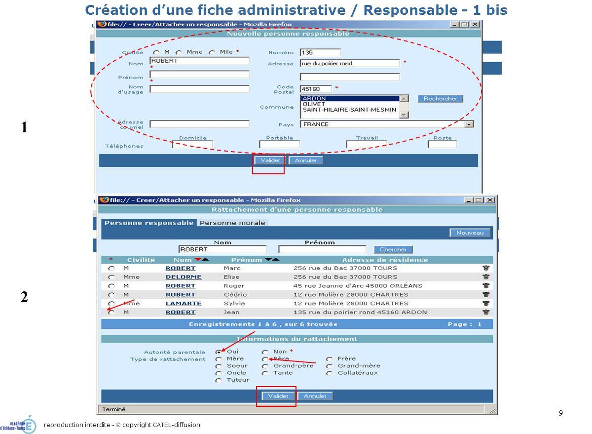 Scénario 1 : Admission directe d un élève : création de sa fiche administrative10 Création dune fiche administrative / Responsable - 2 1 2 reproduction interdite - © copyright CATEL-diffusion