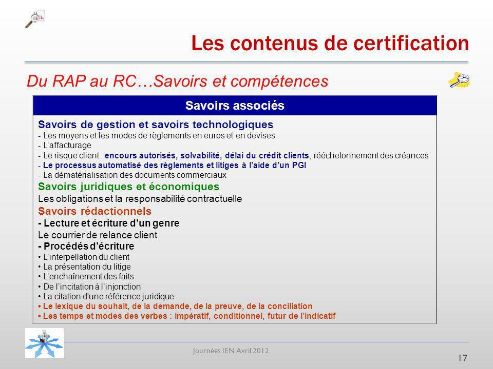Journées IEN Avril 2012 Du RAP au RC…Savoirs et compétences 17 Savoirs associés Savoirs de gestion et savoirs technologiques - Les moyens et les modes