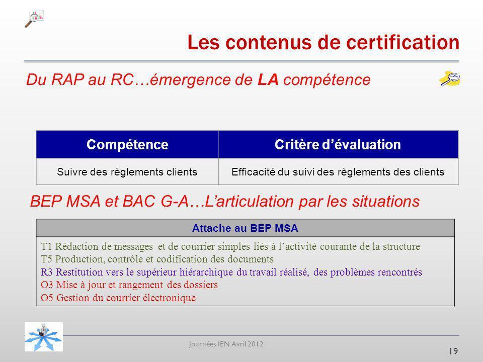 Journées IEN Avril 2012 Du RAP au RC…émergence de LA compétence 19 CompétenceCritère dévaluation Suivre des règlements clientsEfficacité du suivi des