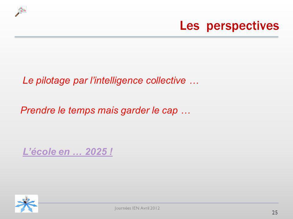 Journées IEN Avril 2012 Les perspectives 25 Prendre le temps mais garder le cap … Le pilotage par lintelligence collective … Lécole en … 2025 !