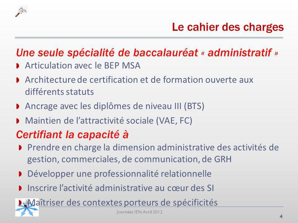 Journées IEN Avril 2012 Le cahier des charges Articulation avec le BEP MSA Architecture de certification et de formation ouverte aux différents statut