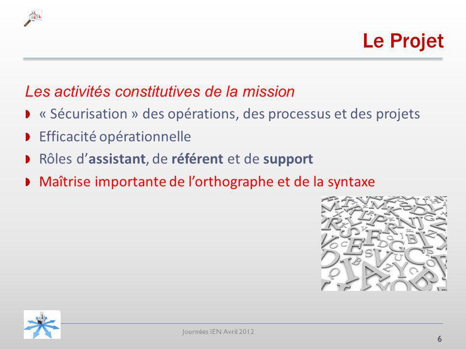 Journées IEN Avril 2012 Les activités constitutives de la mission « Sécurisation » des opérations, des processus et des projets Efficacité opérationne