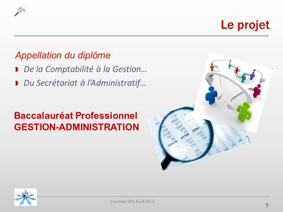 Journées IEN Avril 2012 Le projet Appellation du diplôme De la Comptabilité à la Gestion… Du Secrétariat à lAdministratif… 7 Baccalauréat Professionnel GESTION-ADMINISTRATION