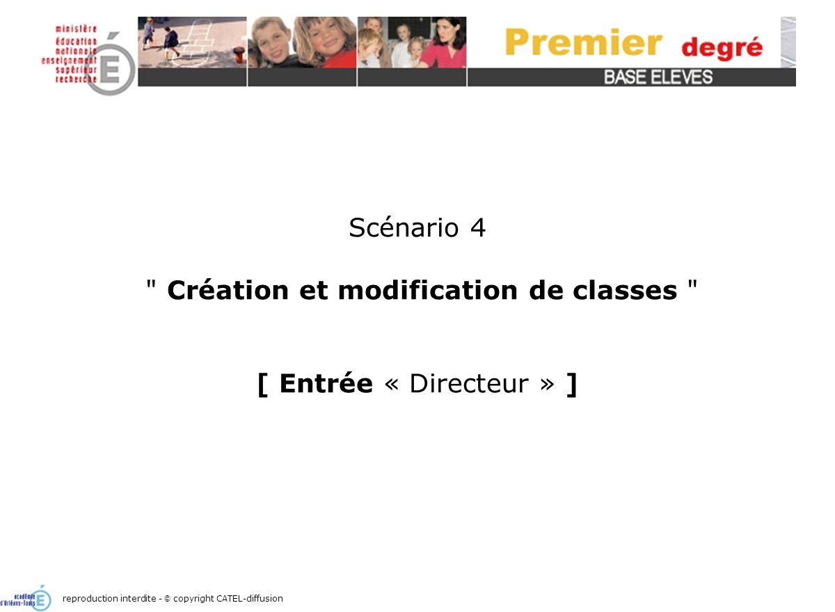 Scénario 4 Création et modification de classes [ Entrée « Directeur » ] reproduction interdite - © copyright CATEL-diffusion