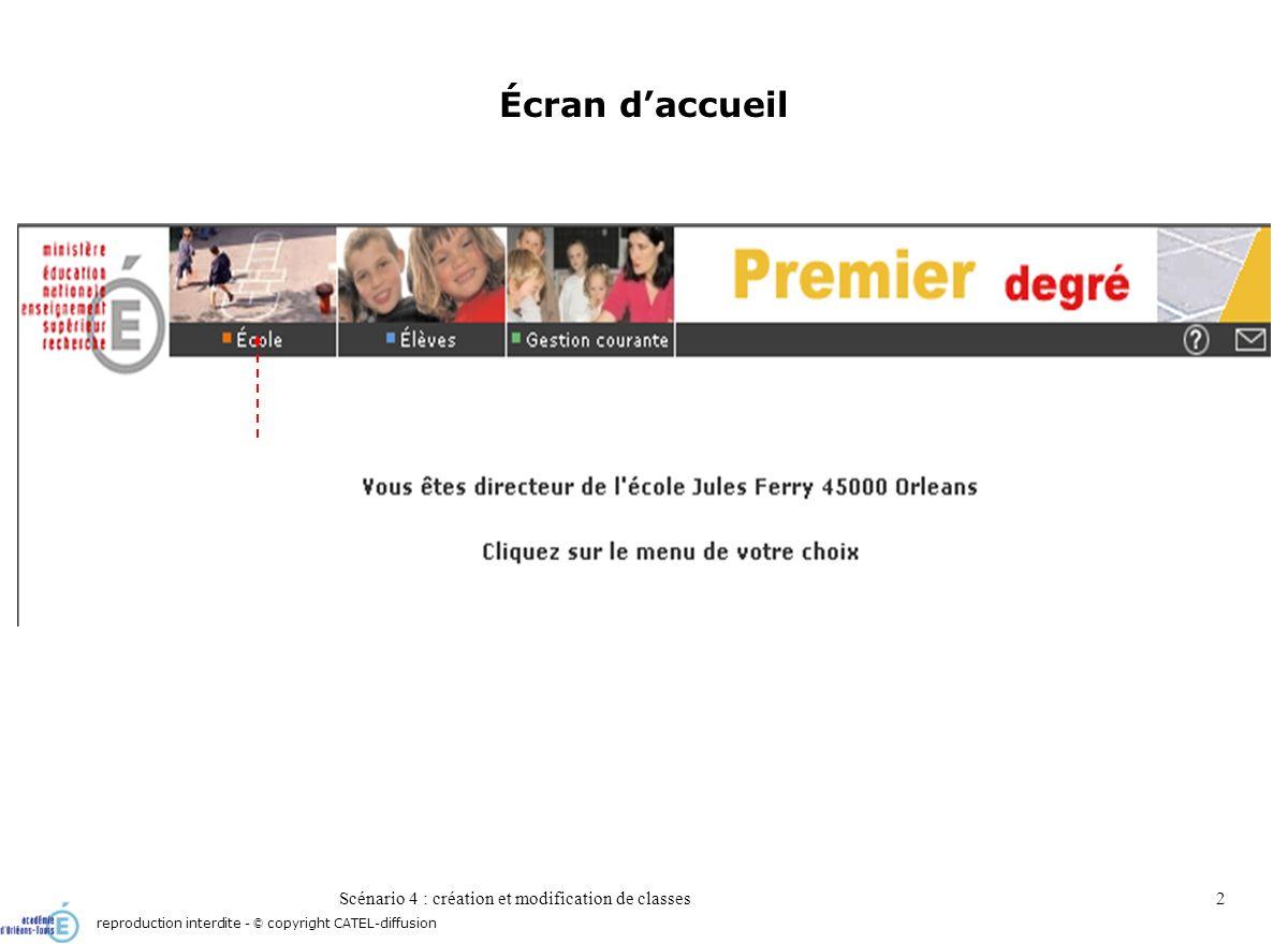 Scénario 4 : création et modification de classes2 Écran daccueil reproduction interdite - © copyright CATEL-diffusion