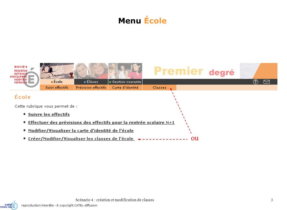 Scénario 4 : création et modification de classes3 Menu École reproduction interdite - © copyright CATEL-diffusion ou