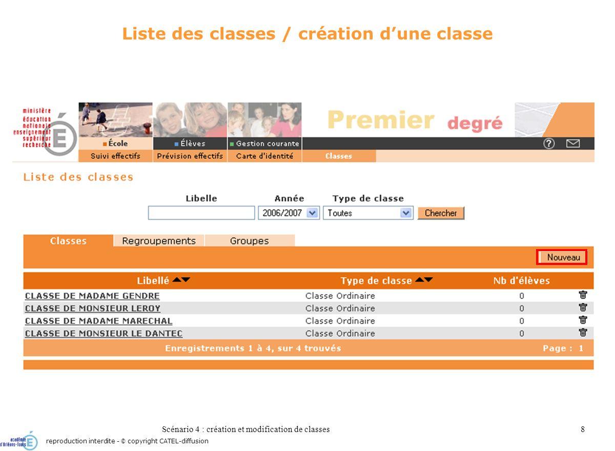 Scénario 4 : création et modification de classes8 Liste des classes / création dune classe reproduction interdite - © copyright CATEL-diffusion
