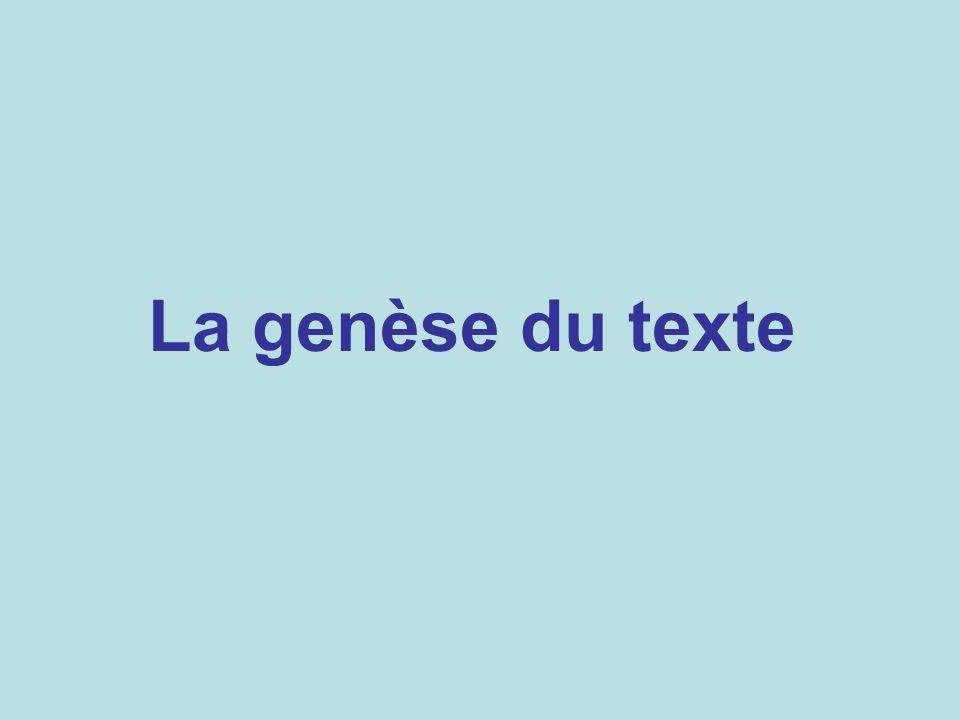 La genèse du texte