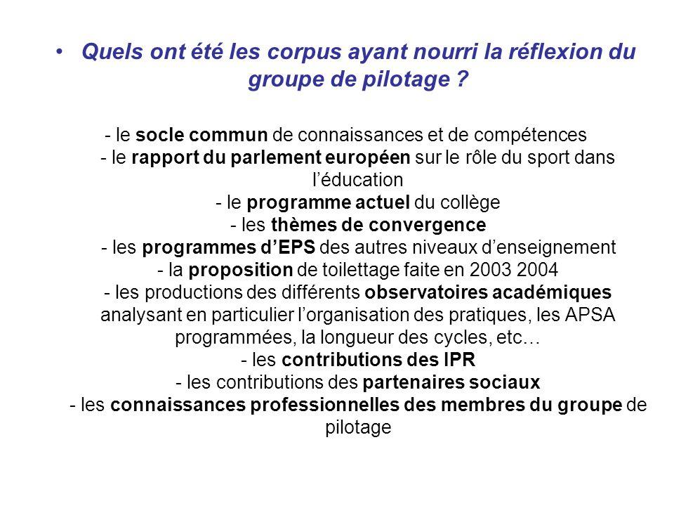 Quels ont été les corpus ayant nourri la réflexion du groupe de pilotage ? - le socle commun de connaissances et de compétences - le rapport du parlem