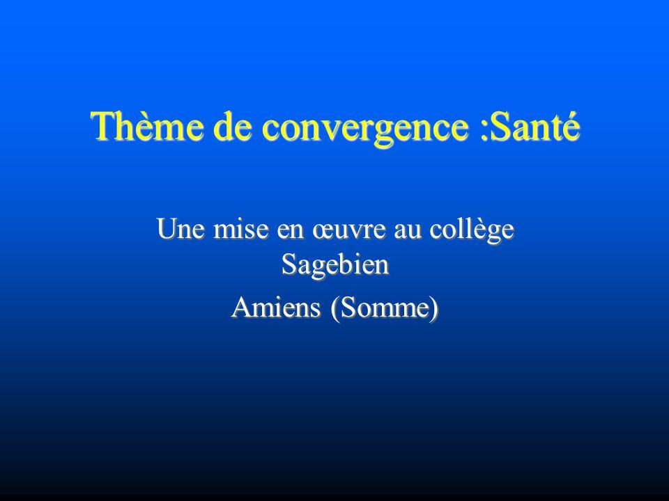 Thème de convergence :Santé Une mise en œuvre au collège Sagebien Amiens (Somme)