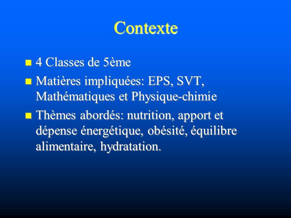 Contexte 4 Classes de 5ème 4 Classes de 5ème Matières impliquées: EPS, SVT, Mathématiques et Physique-chimie Matières impliquées: EPS, SVT, Mathématiques et Physique-chimie Thèmes abordés: nutrition, apport et dépense énergétique, obésité, équilibre alimentaire, hydratation.