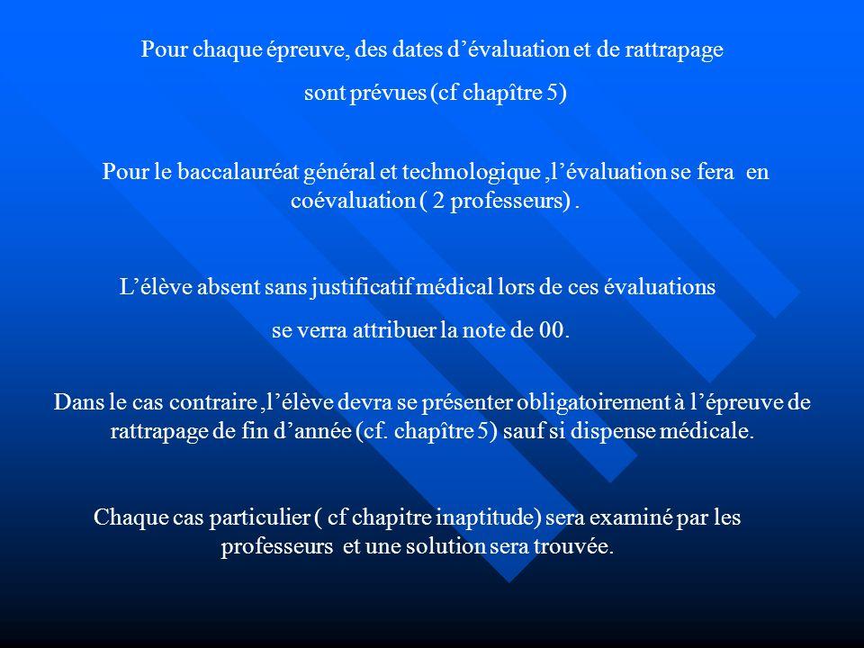 Pour chaque épreuve, des dates dévaluation et de rattrapage sont prévues (cf chapître 5) Pour le baccalauréat général et technologique,lévaluation se