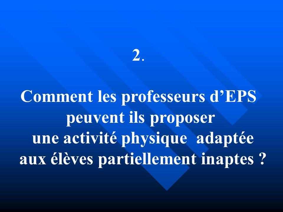 2. Comment les professeurs dEPS peuvent ils proposer une activité physique adaptée aux élèves partiellement inaptes ?