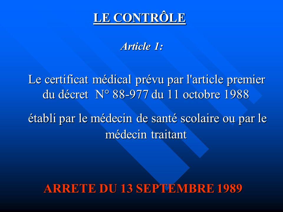 LE CONTRÔLE Article 1: Article 1: Le certificat médical prévu par l'article premier du décret N° 88-977 du 11 octobre 1988 Le certificat médical prévu