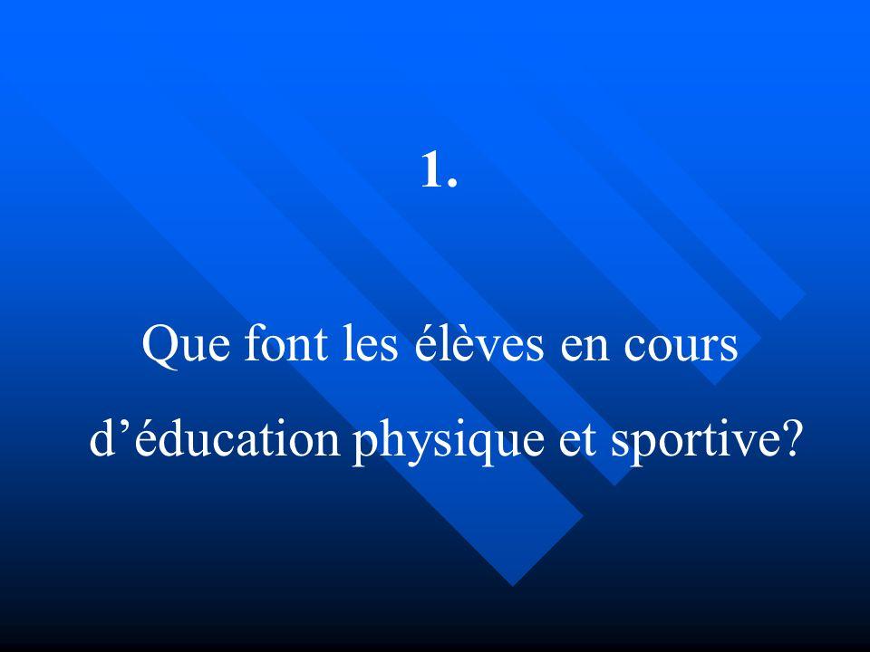 Que font les élèves en cours déducation physique et sportive? 1.