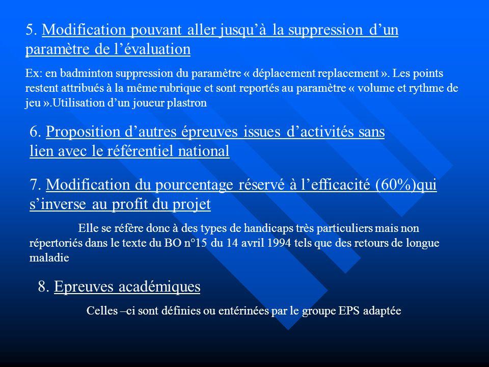 5. Modification pouvant aller jusquà la suppression dun paramètre de lévaluation Ex: en badminton suppression du paramètre « déplacement replacement »