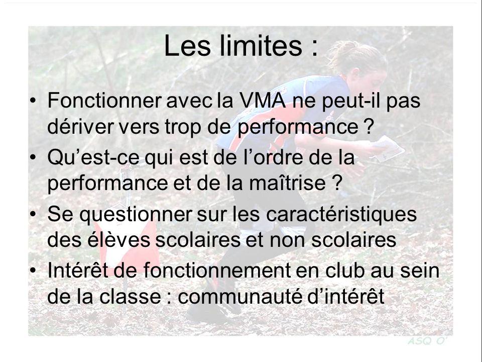 Les limites : Fonctionner avec la VMA ne peut-il pas dériver vers trop de performance ? Quest-ce qui est de lordre de la performance et de la maîtrise
