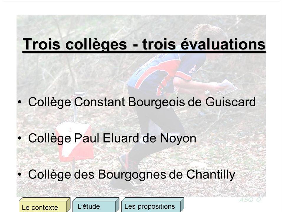 Trois collèges - trois évaluations Collège Constant Bourgeois de Guiscard Collège Paul Eluard de Noyon Collège des Bourgognes de Chantilly Le contexte LétudeLes propositions