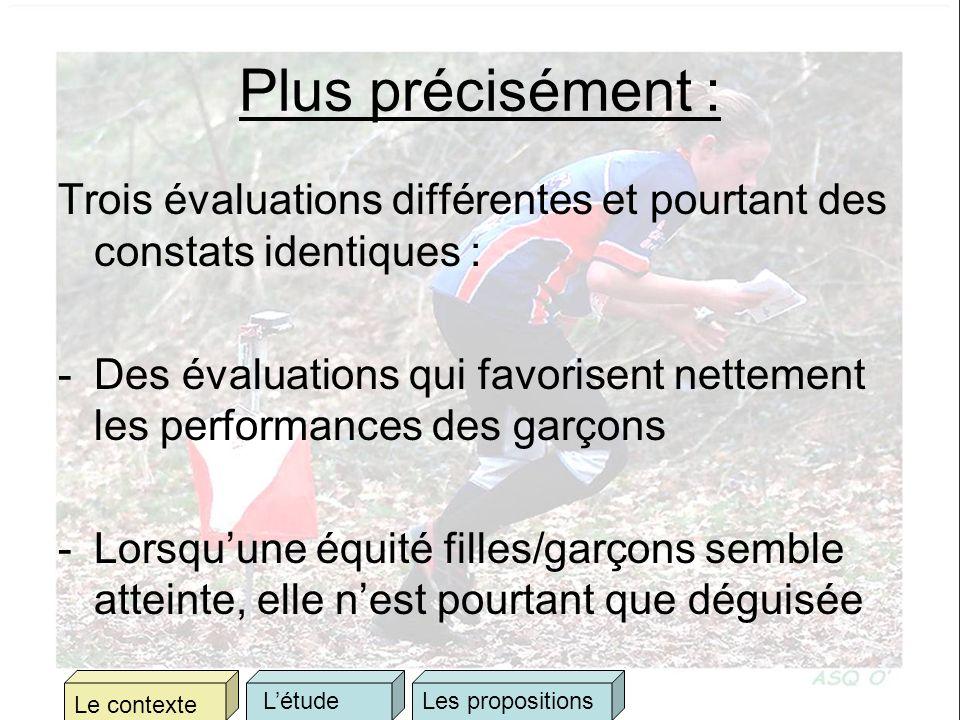 Plus précisément : Trois évaluations différentes et pourtant des constats identiques : -Des évaluations qui favorisent nettement les performances des