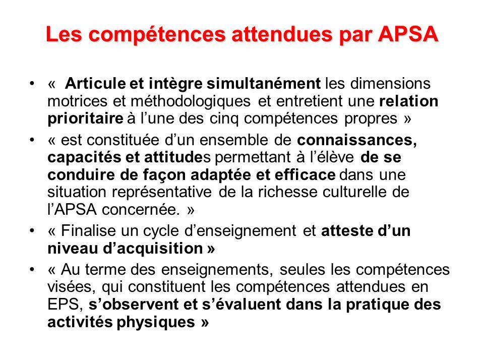 Les compétences attendues par APSA « Articule et intègre simultanément les dimensions motrices et méthodologiques et entretient une relation prioritai