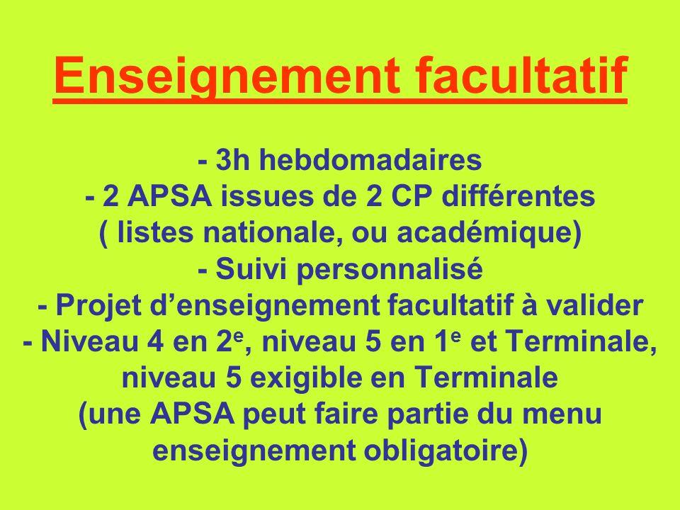 Enseignement facultatif - 3h hebdomadaires - 2 APSA issues de 2 CP différentes ( listes nationale, ou académique) - Suivi personnalisé - Projet densei