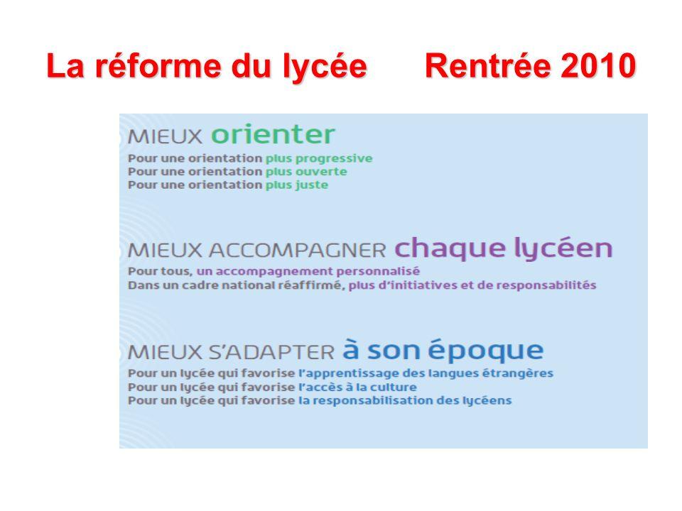 La réforme du lycée Rentrée 2010